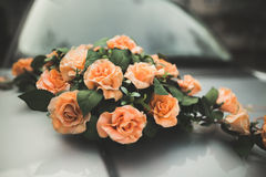 Pretty good wedding bouquet of various flowers on car Stock Photography