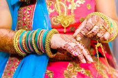 Bride with mehendi stock image