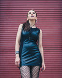 Pretty goth girl posing in urban landscape Stock Photo
