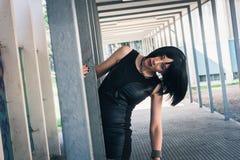 Pretty goth girl posing in urban landscape Royalty Free Stock Photos