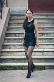 Pretty goth girl posing in urban landscape Royalty Free Stock Photography