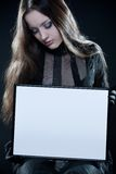 Pretty gothic girl with blank frame stock image