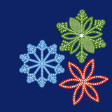 Pretty graphical snowflakes. Copyspace to side royalty free illustration