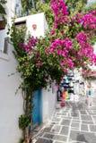 Pretty Greek Path in Ios island, Cyclades, Greece. Stock Photo