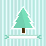 Pretty green Christmas tree on the striped background Royalty Free Stock Photos