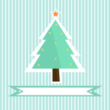 Pretty green Christmas tree with toys on the striped background Royalty Free Stock Photo