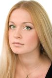 Pretty green-eyed blonde. Portrait of pretty green-eyed blonde on white background Stock Images