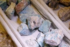 Natural green stone, adobe rgb. Pretty green natural ore on display stock photos