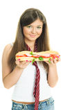 Pretty gril with a sandwitch Stock Photography