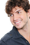 Pretty guy with toothy smile. Happy face of handsome guy with toothy smile - close-up Stock Photos