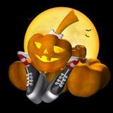 Pretty Halloween pumpkin. In striped socks Stock Images