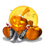 Pretty Halloween pumpkin on a white. Pretty Halloween pumpkin in striped socks on a white background Stock Images