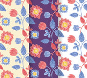 Pretty hand-drawn colorful flowers pattern set royalty free stock images