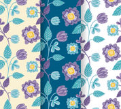 Pretty hand-drawn colorful flowers pattern set Stock Photos