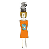 Pretty hand drawn girl with books Royalty Free Stock Image