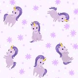 Seamless cute pattern with cute violet unicorns and flowers. Pretty hand drawn vector texture. Childish texture for fabric, textile Royalty Free Illustration