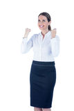 Pretty happy businesswoman reached her goal Royalty Free Stock Photo