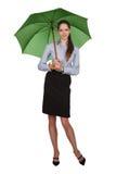 Pretty happy girl with big umbrella Stock Photo