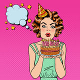Pretty Happy Girl Blowing Candles on Birthday Cake and Making a Wish. Pop Art Royalty Free Stock Image