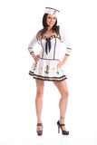 Pretty happy girl in sexy sailor party costume Royalty Free Stock Photos