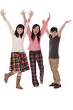 Pretty happy girls raise her hands. Over  white background Stock Photography