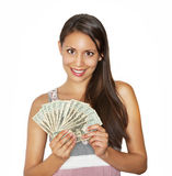 Pretty happy money holding cash Stock Photography