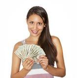 Pretty happy money holding cash Stock Photography