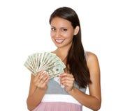 Pretty happy money holding cash royalty free stock photography