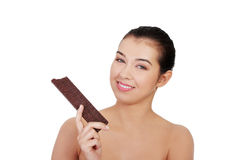 Pretty happy smiling woman eating chocolate waffle Stock Photo