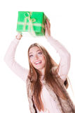 Pretty happy woman with box gift. Birthday. Stock Image