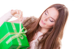 Pretty happy woman with box gift. Birthday. Stock Photography