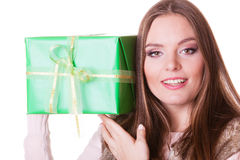Pretty happy woman with box gift. Birthday. Royalty Free Stock Image