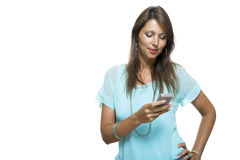Pretty Happy Woman Holding a Mobile Phone Royalty Free Stock Photo