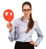 Pretty woman with inflated red ball Stock Photography