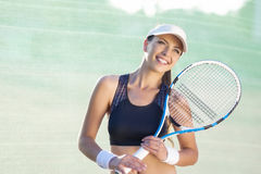 Pretty and Happy Young Caucasian Female Tennis Player Royalty Free Stock Photos