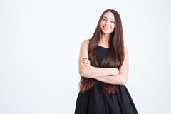 Pretty happy young woman with dark long hair Royalty Free Stock Images