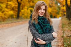 Pretty happy young woman in a gray stylish coat in a vintage vintage scarf is standing and smiling in the park. On a background of yellow golden autumn leaves royalty free stock photos