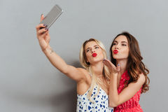 Pretty happy young women make selfie. Royalty Free Stock Photo