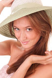 Pretty hat. The pretty girl in green hat isolated on white Royalty Free Stock Photography