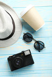 Pretty hat with sunglasses Royalty Free Stock Photography