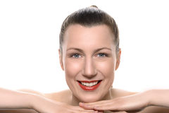 Pretty healthy woman wearing red lipstick Royalty Free Stock Photography