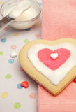 Pretty Heart Shaped Frosted Sugar Cookie Royalty Free Stock Photos