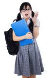 Pretty high school student shocked Royalty Free Stock Images
