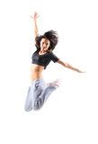 Pretty hip-hop style teenage girl jumping dancing Stock Photography