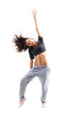 Pretty hip-hop style teenage girl jumping dancing Royalty Free Stock Photography