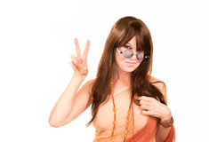Pretty Hippie Making a Peace Sign Stock Photos