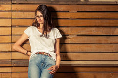 Pretty hipster female model wearing eyeglasses Royalty Free Stock Photos