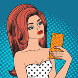 Pretty hipster girl taking selfie and making duck face pop art vector. Royalty Free Stock Photography