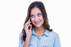 Pretty hipster having a phone call Royalty Free Stock Images