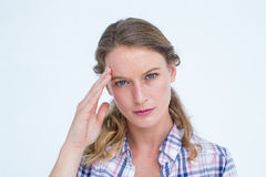 Pretty hipster with headache Stock Image